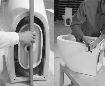 How do Corraveni control the surface quality of ceramic toilet and washbasin?